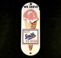 Vintage ENJOY SMITH ICE CREAM DOOR PUSH PULL PORCELAIN Rare Old Advertising Sign