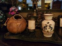 Beautiful Southwest Rawhide Mexican Pottery Pot and Hand Painted Vase plus More!