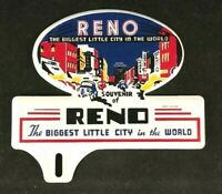 Vintage RENO BIGGEST LITTLE CITY LICENSE PLATE TOPPER Rare Old Advertising Sign
