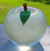 ORIENT & FLUME ART GLASS  IRADESCENT APPLE PAPERWEIGHT OR FIGURINE SIGNED #