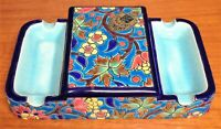 Vintage French Longwy Pottery Art Deco Cigarette Box & Ashtrays Emaux d'Art
