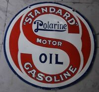 STANDARD POLARINE MOTOR OIL 2 SIDED VINTAGE PORCELAIN SIGN 30 INCHES ROUND