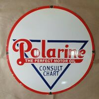 POLARINE THE PERFECT MOTOR OIL VINTAGE PORCELAIN SIGN 24 INCHES ROUND