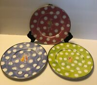 MACKENZIE CHILDS ENAMEL SET Of 3 Plates Dancing Bugs With Instruments