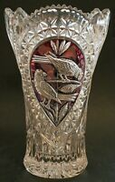 Bohemian Hofbauer Lead Crystal Glass Large Vase Cranberry Red With Birds 10