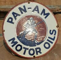 Original 1930's Old Vintage Rare PAN-AM Motor Oil Porcelain Enamel Sign Board