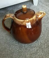 Vintage Tea Pot - Hull Pottery Brown Drip Teapot- Oven Proof USA 6 3/4