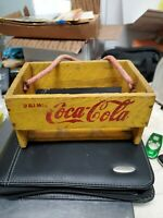 1920'S COCA COLA ANTIQUE CARRIER WOODEN CARRYING CASE DRINK ROPE HANDLE