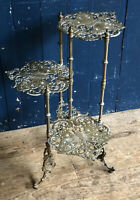 3 Tier Brass Butterfly Design Plant Pot Stand Jardiniere Table What Not C1930