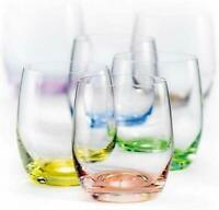 Bohemian Crystal Set of 6 Multi-Colored 12 Oz White Wine Crystal Glasses