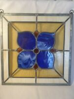 VINTAGE STAINED GLASS WINDOW HANGING PANEL HEAVY GLASS LEAD CASING