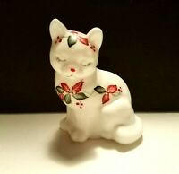 FENTON Glass Cat * Hand Painted Floral * Christmas * Artist Signed