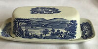 Liberty Blue England COVERED BUTTER DISH WITH LID Lafayette Landing