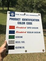 Pure Oil / Gasoline Porcelain Product Identification Sign