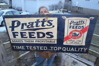 Large Vintage 1950's Pratts Feeds Cow Pig Chicken Farm Gas Oil 48