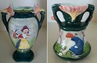 Pretty/Old Majolica TWO Vases of Dutch Ladies in Excellent Condition