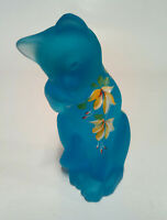 Fenton Art Glass Lenox Celeste Blue Grooming Cat H/P Honeysuckle Flowers
