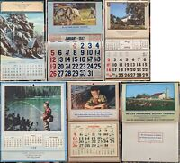 6 Salesman Sample Calendars 1947 and 1948 plus a sample insert in very good cond
