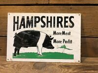 Hampshires Pig Pork Farm Sign Hog Cast Iron Barn Meat Tractor Vintage Antique