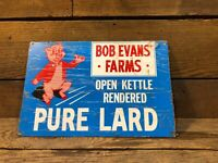 Bob Evans Pure Lard Can Pig Pork Farm Sign Hog Cast Iron Barn Vintage Antique