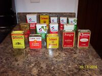 VINTAGE BOX LOT of VINTAGE SPICE TINS - CROWN COLONY - NASH's and MORE