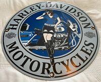 VINTAGE HARLEY DAVIDSON PORCELAIN SIGN, PIN UP, INDIAN, HOG, GAS, OIL, SERVICE