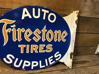 Double Side Firestone Tires Porcelain Flange Sign Gas Pump Antique Shell Gulf