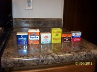 VINTAGE BOX LOT of SPICE TINS - CRESCENT, CROWN COLONY, KROGER , RED OWL ETC..