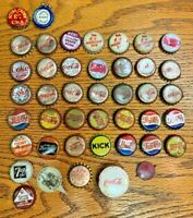 RARE Lot of 40 Cork Lined Bottle Caps Strong Color Coke Pepsi Odds Whiskey