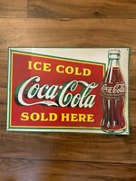 ICE COLD Coca Cola SOLD HERE Vintage Advertising Metal Tin Sign 1969 Copyright