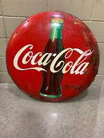 ANTIQUE PORCLEAIN 36 Inch Diameter Coke Button With Bottle