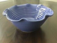 "N.C. Art Pottery 1998 Serving Bowl Bobby Ray Marsh Pottery 4.5"" Tall Blue"