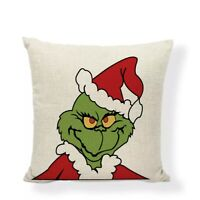 The Grinch Classic Christmas Pillow Case Cover Santa Hat 18x18