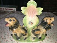 VTG Iridescent Lion Crest Mantel Centerpiece Ceramic Pottery Made in Italy 12