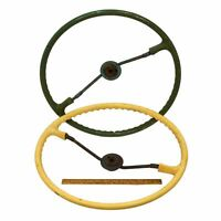 Vintage FARM TRACTOR STEERING WHEEL Lot of 2 OLD WHEELS Green amp; Yellow STEAMPUNK