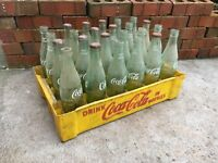 Vintage Yellow Plastic Coca-Cola Crate & 24 Glass 10oz Coke Bottles Soda Box