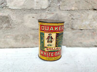 1930s Vintage Quaker Rolled White Oats Tin Box Chicago U.S.A. Food Advertisement