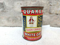 1940s Vintage Quaker Rolled White Oats Tin Box Chicago U.S.A. Food Advertising