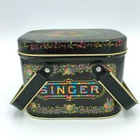 Singer Sewing Machine Company Black Metal Tin Storage Box Small with Buttons