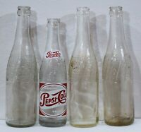 PEPSI-COLA Vintage Clear Swirl Wave Glass Bottle LOT OF 4: 1940 1943 1944 1958