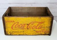 Rare Vintage Coca Cola Yellow Wood Crate Coke Box Seattle Herr Box Co.