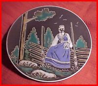 Vintage Norwegian/Norway Art Pottery Plate with Lady in Vestfold Bunad Design