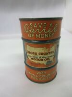 VINTAGE ADVERTISING CROSS COUNTRY OIL CAN BANK 616 F