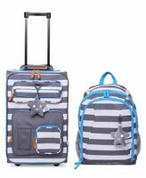 $160 Crckt Kids 2-Piece Stripe Carry-On Suitcase Luggage & Backpack Set Gray