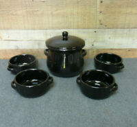 Black Pottery Handled Soup Bowls and Crock with Lid Made in Italy