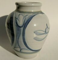 Rabbit Tulip Vase Blue White Stoneware Art Pottery Signed Handpainted 6 1/4 in