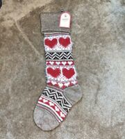 NWT Pottery Barn Kids classic fair isle knit RED HEARTS Christmas stocking SOFT