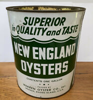 Vintage Gallon Seafood New England Oysters Tin Can Warren Oyster Co Advertising