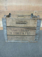 Vintage Wooden Wood Metal Milk Crate Carr's Dairy Sidney, NY 1953
