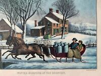 Currier & Ives Calendars 2 Vintage 1989 and 1990 Travelers Insurance